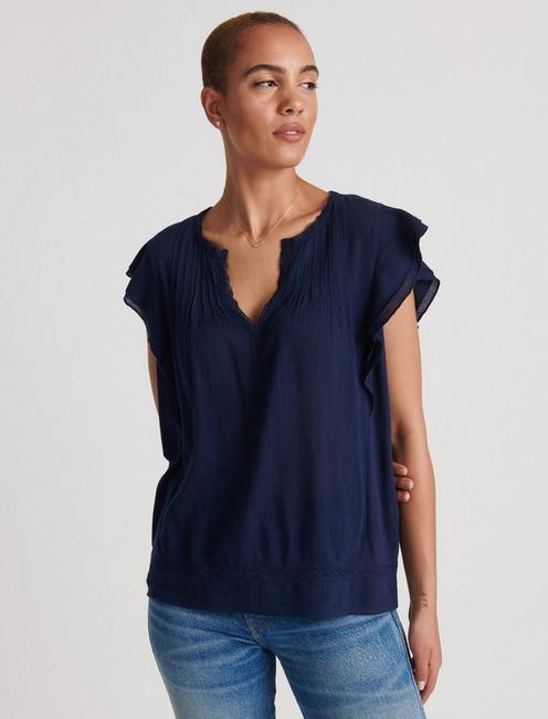 RUFFLE NOTCH NECK TOP, AMERICAN NAVY