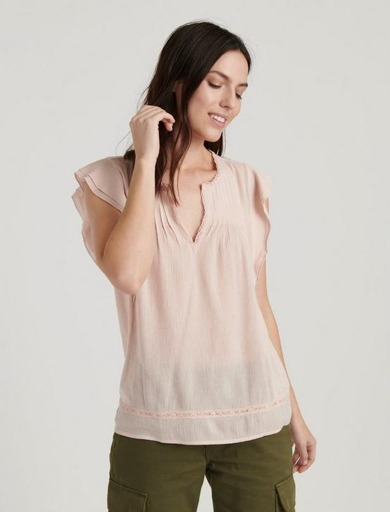 RUFFLE NOTCH NECK TOP, PEACH WHIP, productTileDesktop
