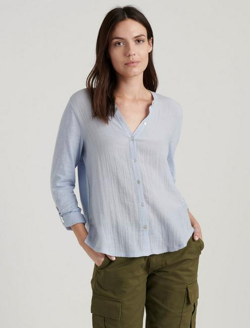 DOUBLE GAUZE SHIRTING, ZEN BLUE