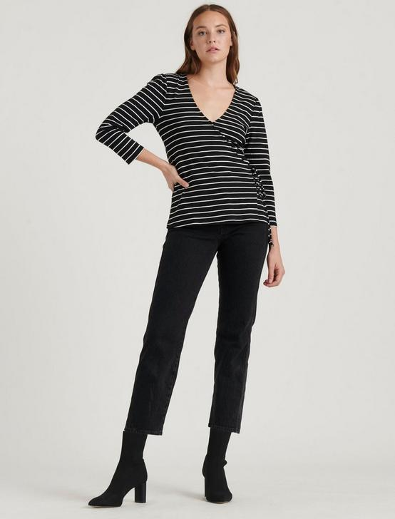 STRIPE WRAP TOP, BLACK/WHITE STRIPE, productTileDesktop