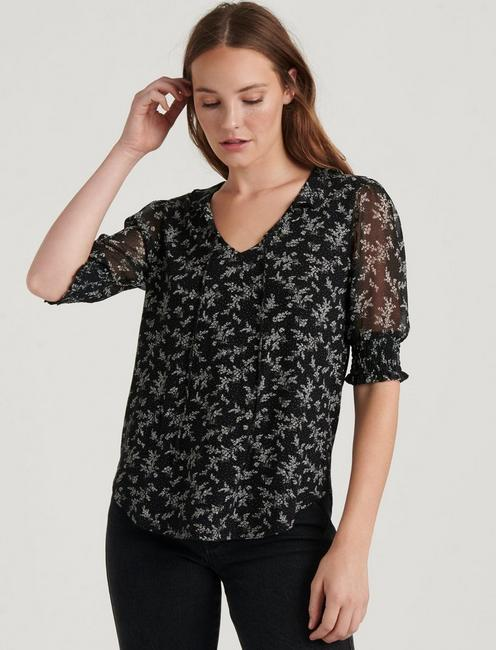 MIX MEDIA V-NECK FLUTTER TOP, BLACK MULTI