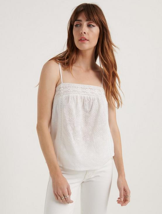 EMBROIDERED CAMI TOP, BRIGHT WHITE, productTileDesktop