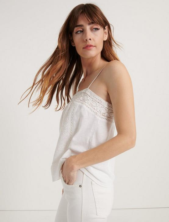 EMBROIDERED CAMI, BRIGHT WHITE, productTileDesktop