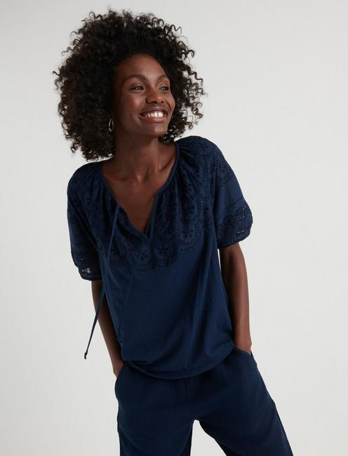 EMBROIDERED CUT OUT PEASANT TOP, AMERICAN NAVY