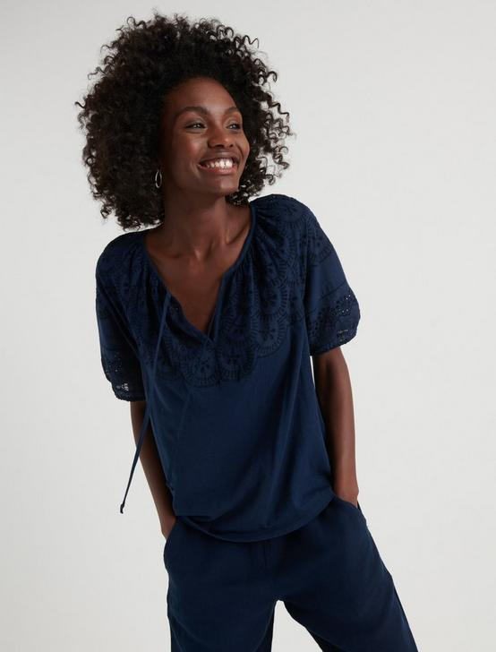 EMBROIDERED CUT OUT PEASANT TOP, AMERICAN NAVY, productTileDesktop