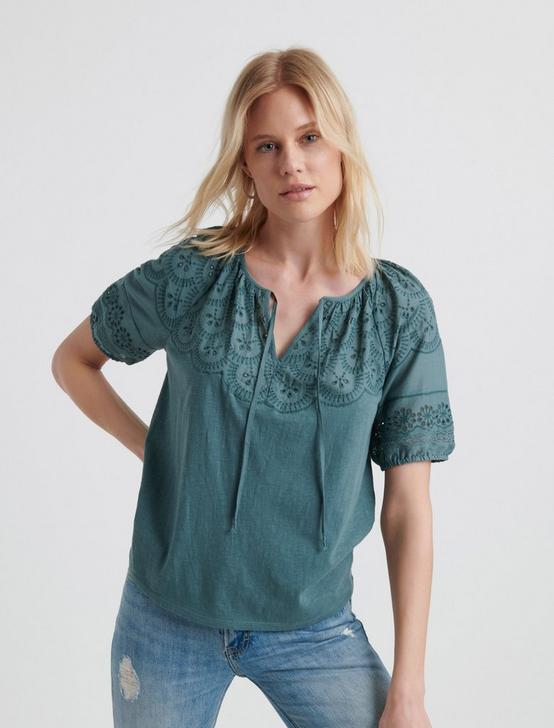 EMBROIDERED CUT OUT PEASANT TOP, NORTH ATLANTIC, productTileDesktop