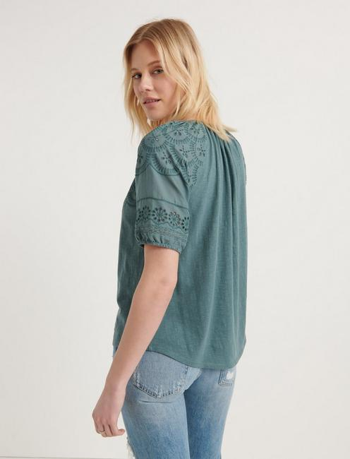 EMBROIDERED CUT OUT PEASANT TOP, NORTH ATLANTIC