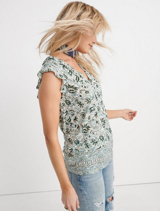 BORDER PRINT RUFFLE TANK, GREEN MULTI, productTileDesktop