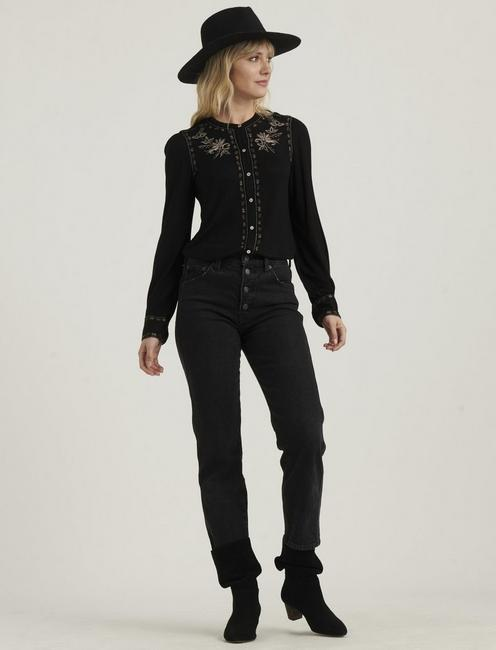 EMBROIDERED BUTTON FRONT TOP, 001 LUCKY BLACK
