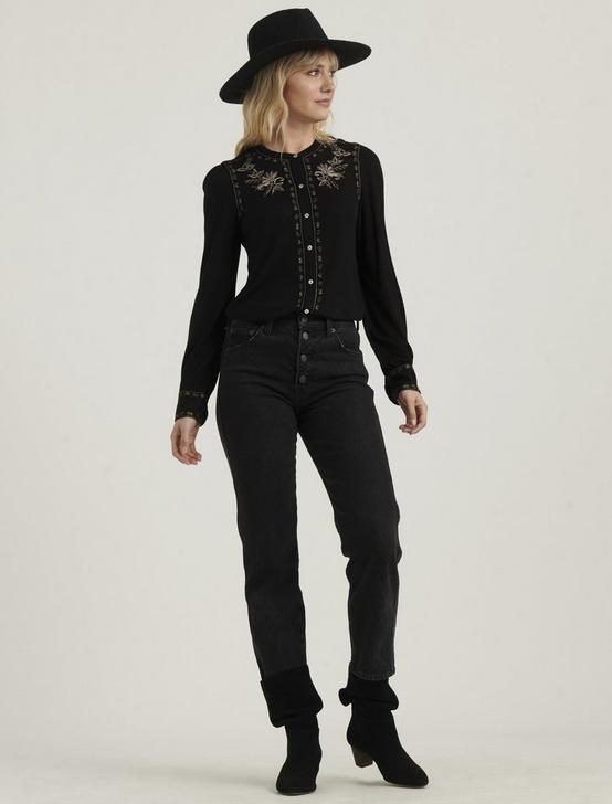 EMBROIDERED BUTTON FRONT TOP, 001 LUCKY BLACK, productTileDesktop