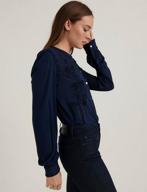 EMBROIDERED BUTTON FRONT TOP, AMERICAN NAVY