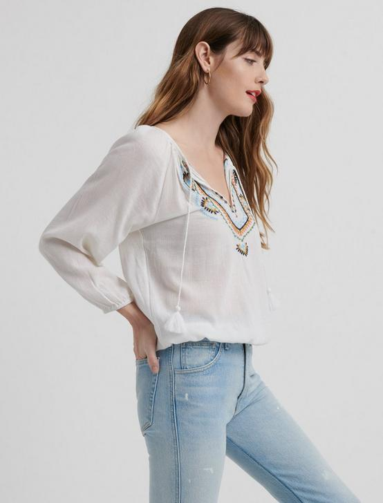 EMBROIDERED 3Q SLEEVE PEASANT TOP, MULTI, productTileDesktop