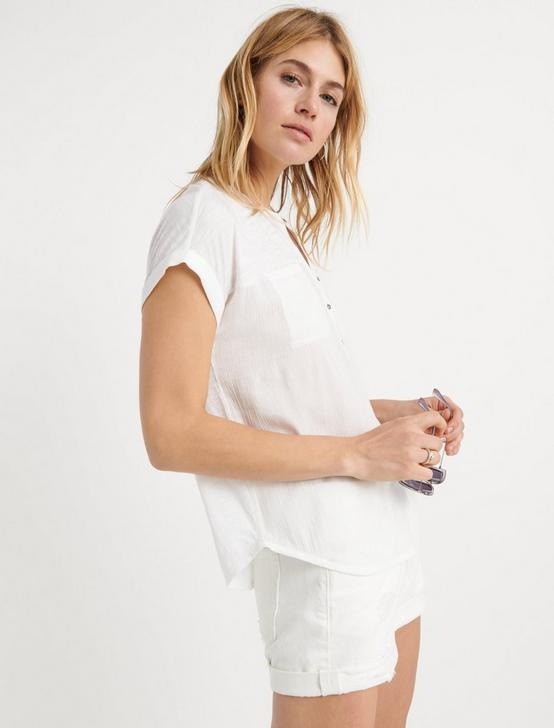 MIX MEDIA SHORT SLEEVE HENLEY, LUCKY WHITE, productTileDesktop