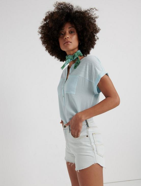 MIX MEDIA SHORT SLEEVE HENLEY, CRYSTAL BLUE, productTileDesktop
