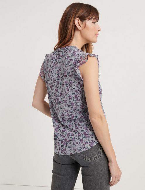 FLUTTER SLEEVE HENLEY TOP, GREY MULTI