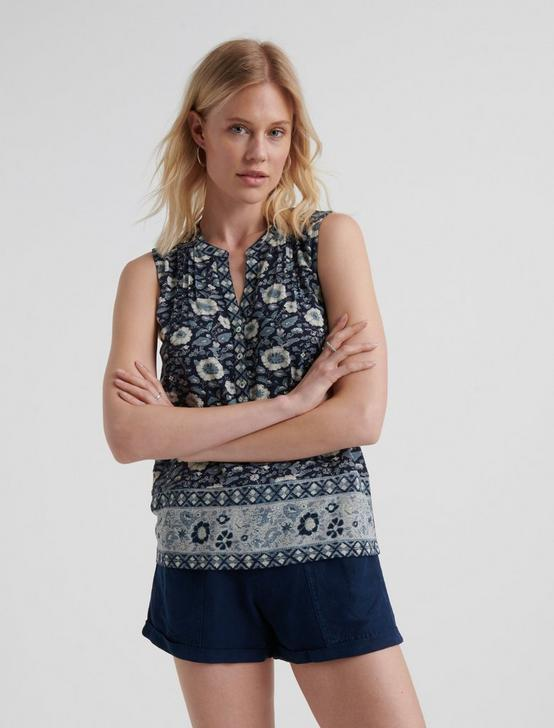 SLEEVELESS BORDER PRINT HENLEY, NAVY MULTI, productTileDesktop