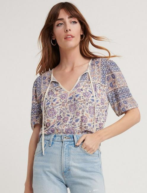 PRINTED SHORT SLEEVE PEASANT TOP,