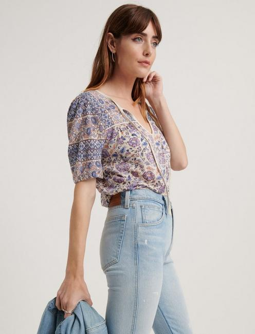 PRINTED SHORT SLEEVE PEASANT TOP, LAVENDER MULTI
