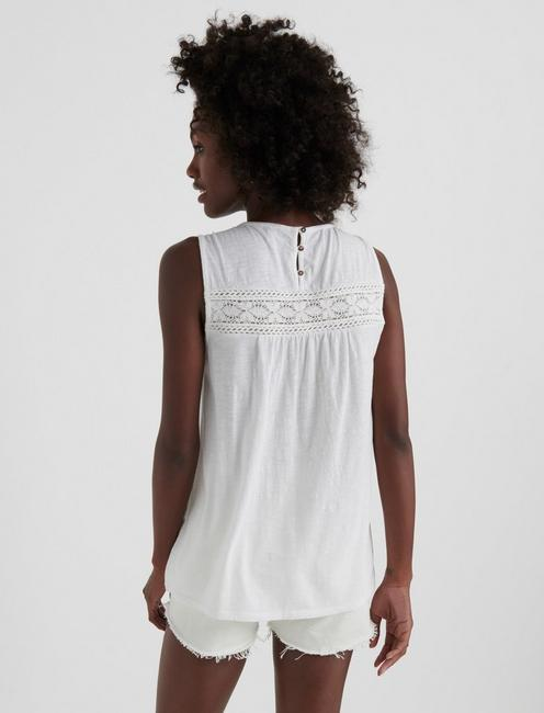 EMBROIDERED SHELL, BRIGHT WHITE