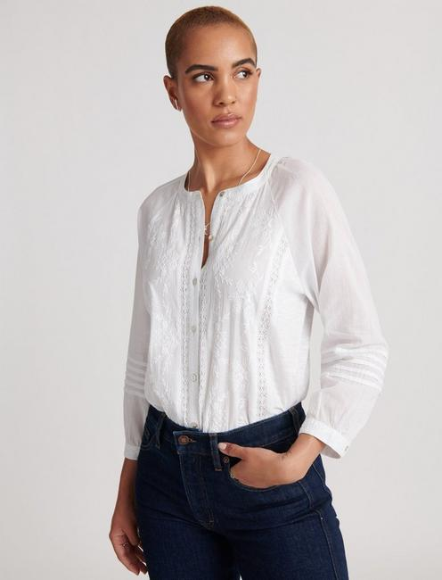 EMBROIDERED SLEEVE SHIRTING, BRIGHT WHITE