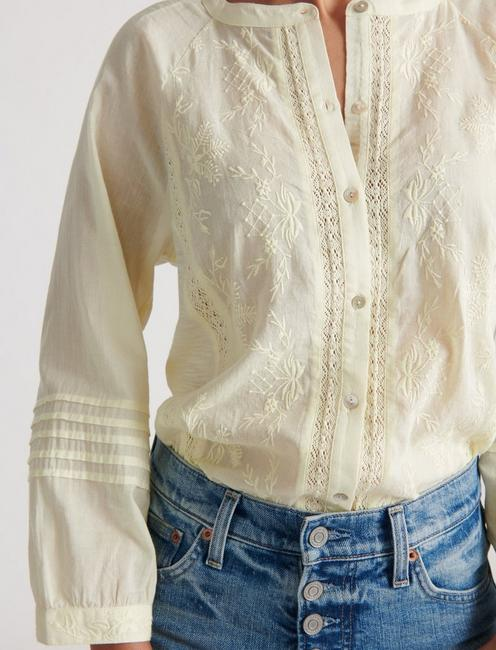 EMBROIDERED SLEEVE SHIRTING, TRANSPARENT YELLOW