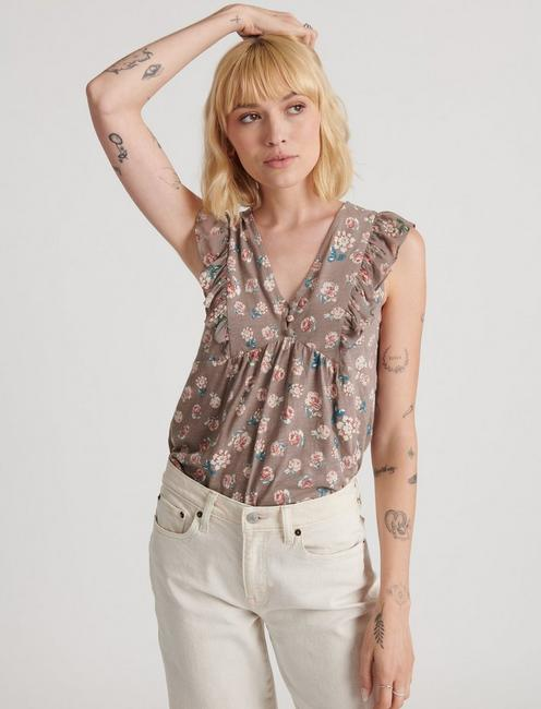 FLUTTER SLEEVE WOVEN KNIT MIX TOP, GREY MULTI