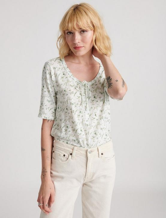 HALF SLEEVE FLORAL  TOP, WHITE MULTI, productTileDesktop