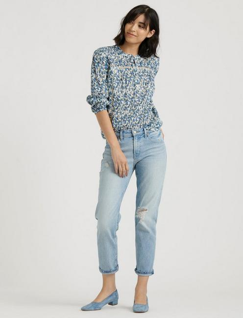 INSET LACE POPOVER TOP, BLUE MULTI