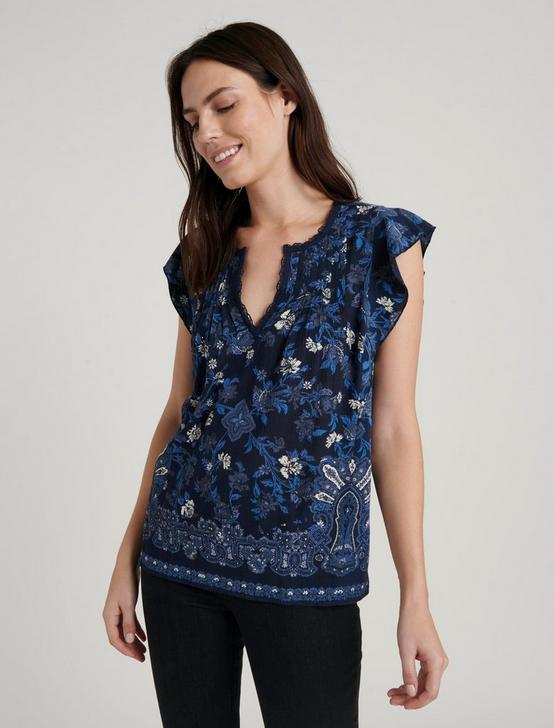 RUFFLE NOTCH NECK TOP, NAVY MULTI, productTileDesktop