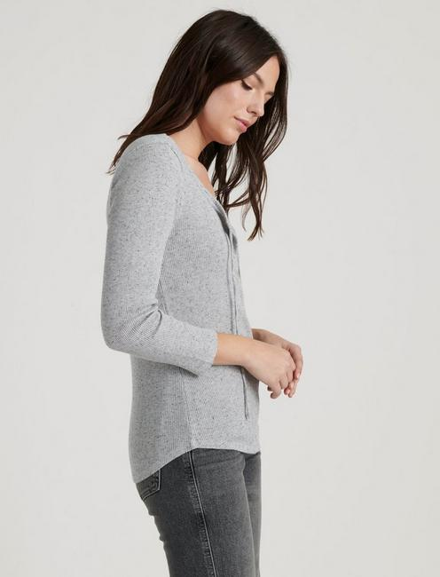 THERMAL  TOP, HEATHER GREY
