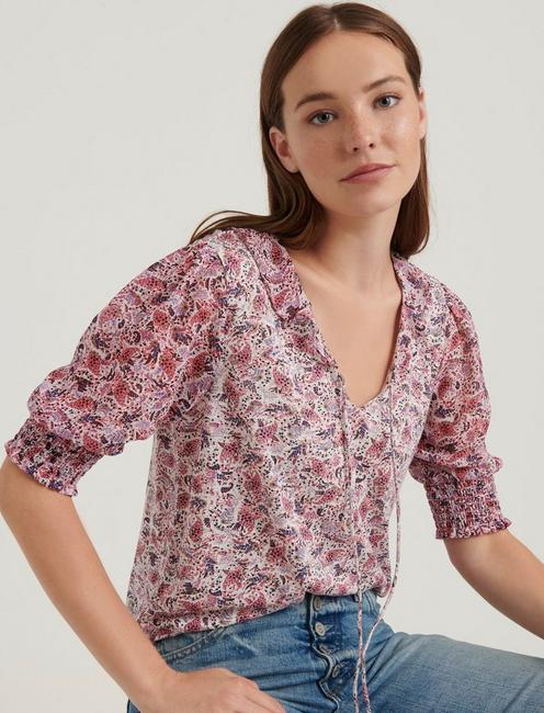 MIX MEDIA V-NECK FLUTTER TOP, PINK MULTI