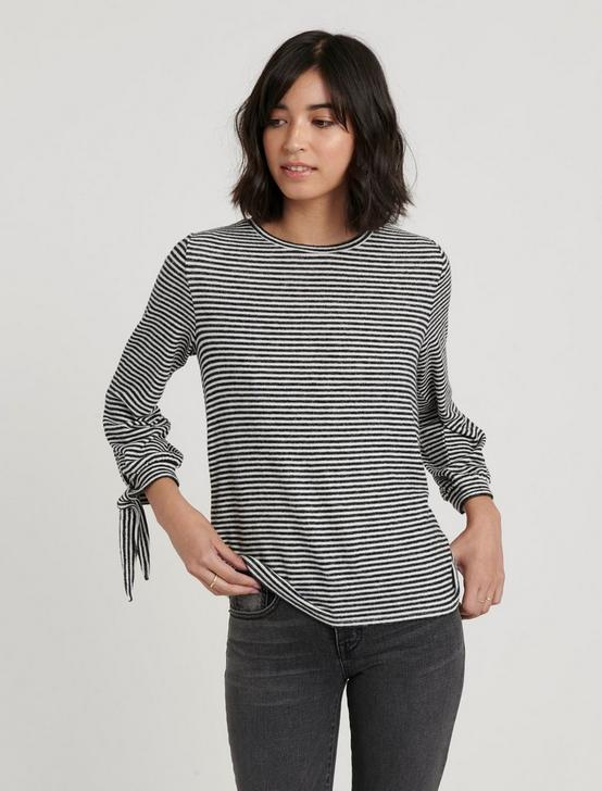 TIE SLEEVE CLOUD JERSEY TOP, BLACK/WHITE STRIPE, productTileDesktop