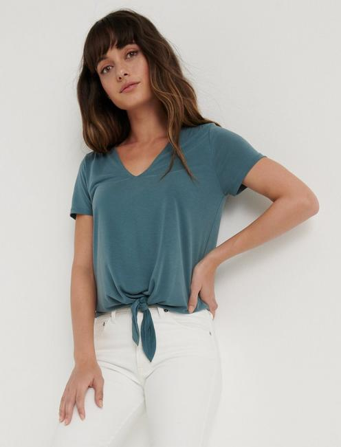 SANDWASH VNECK TIE FRONT TOP, NORTH ATLANTIC