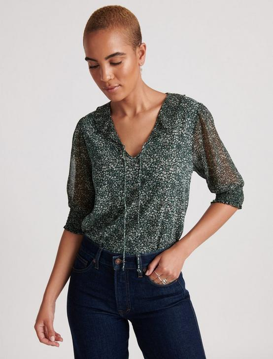 MIX MEDIA V-NECK FLUTTER TOP, GREEN MULTI, productTileDesktop