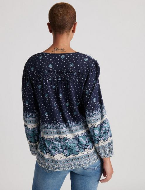 PRINT KNIT PEASANT, BLUE MULTI
