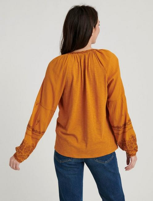 LONG SLEEVE EMBROIDERED PEASANT TOP, SUDAN BROWN