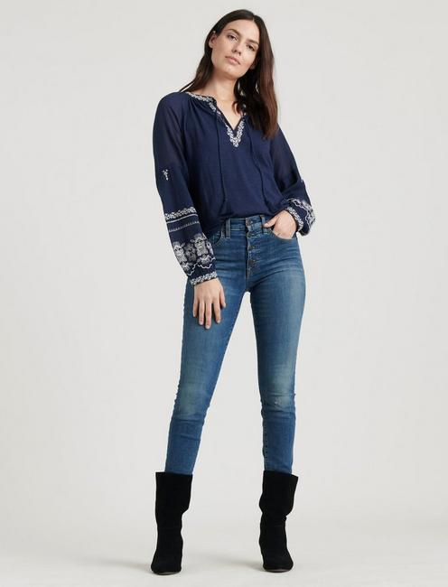 LONG SLEEVE EMBROIDERED PEASANT TOP, navy