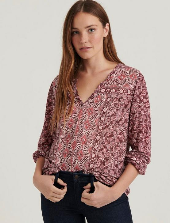LONG SLEEVE PRINTED TOP, BURGUNDY MULTI, productTileDesktop