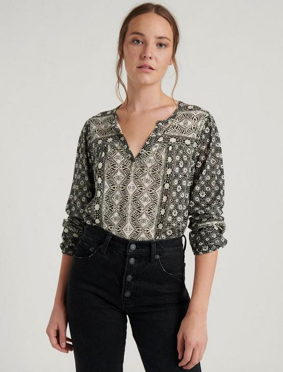 LONG SLEEVE PRINTED TOP, BLACK MULTI, productTileDesktop