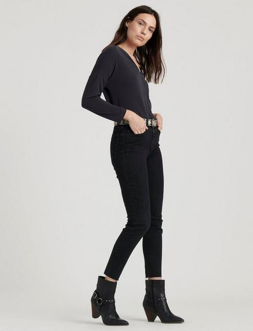 V-NECK SANDWASH TOP, 001 LUCKY BLACK
