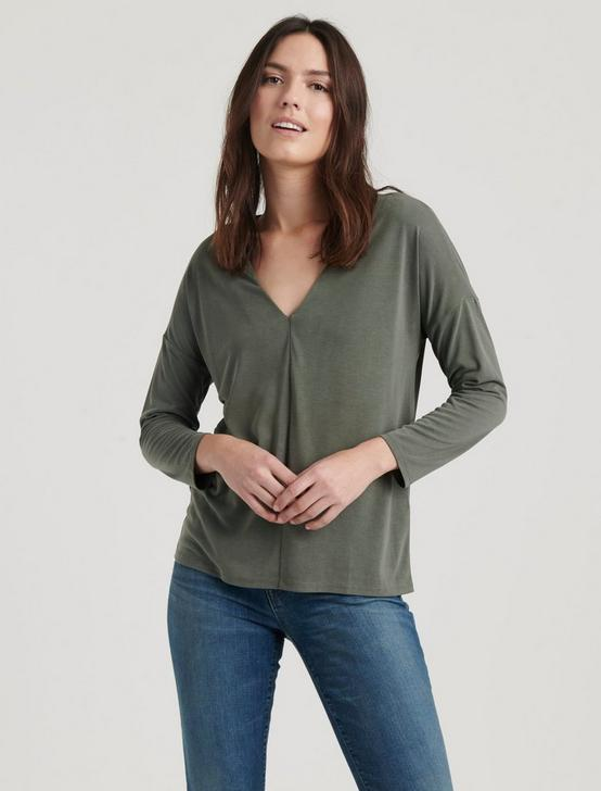 V-NECK SANDWASH TOP, OLIVE, productTileDesktop
