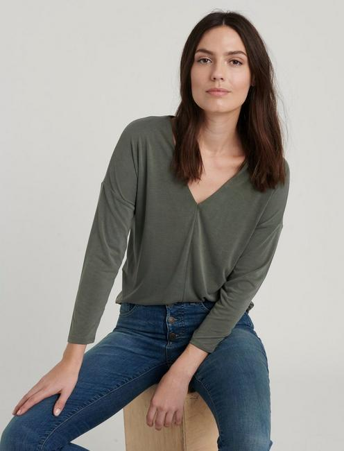 V-NECK SANDWASH TOP, OLIVE