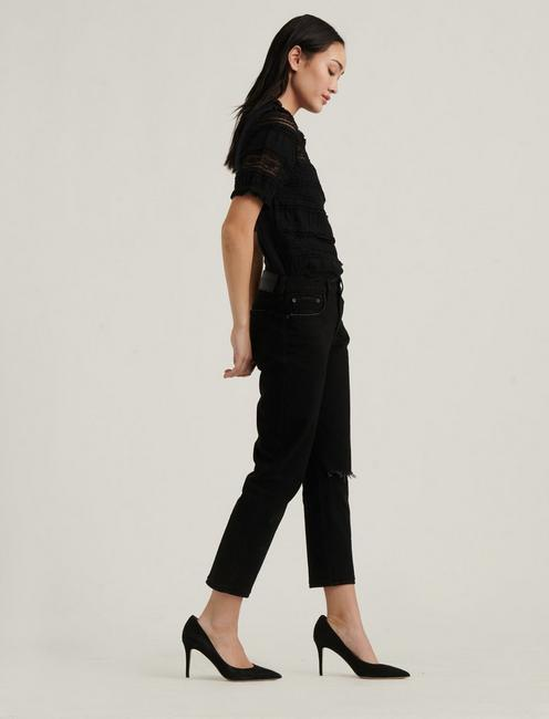 LACE PUFF SLEEVE TOP, 001 LUCKY BLACK
