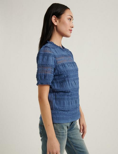 LACE PUFF SLEEVE TOP, CHAMBRAY BLUE