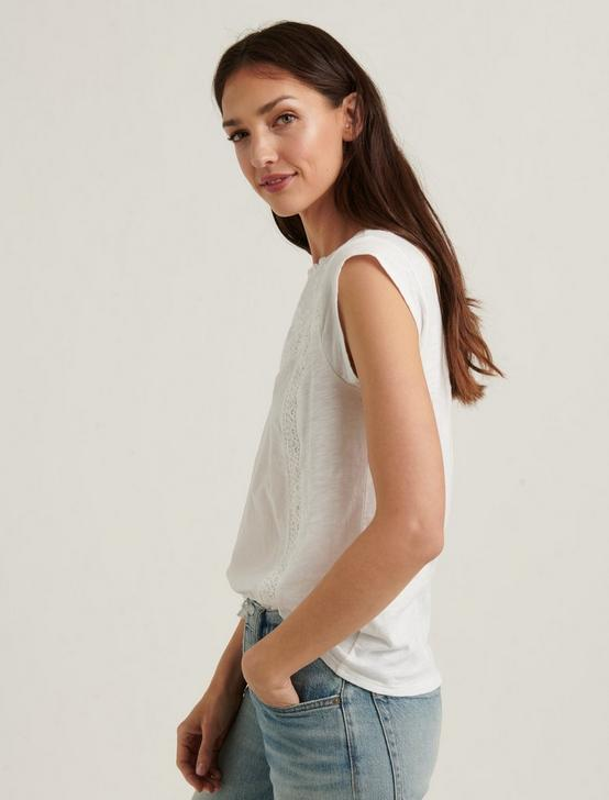 CAP SLEEVE KNIT WOVEN MIX TOP, BRIGHT WHITE, productTileDesktop