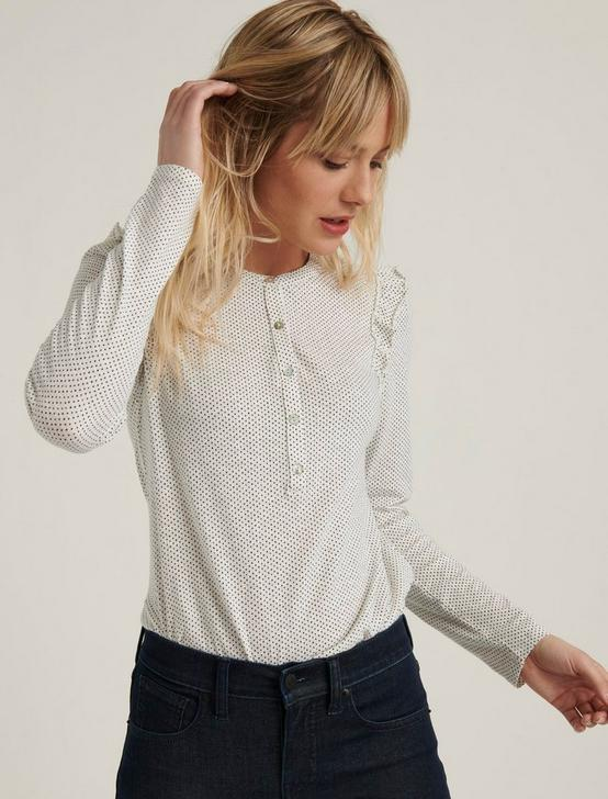 RUFFLED HENLEY  TOP, CREAM POLKA DOT, productTileDesktop
