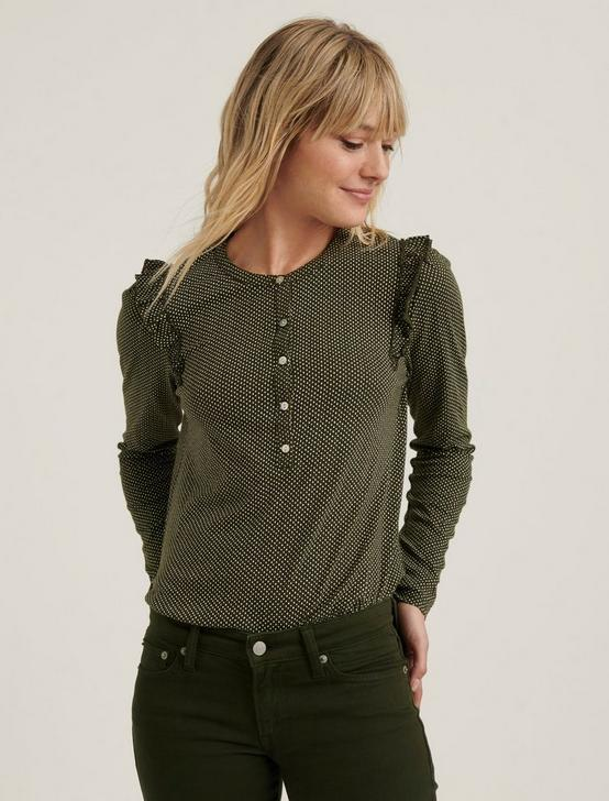 Ruffled Henley  Top