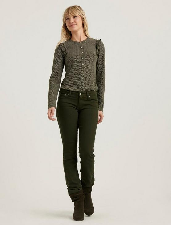 RUFFLED HENLEY  TOP, OLIVE POLKA DOT, productTileDesktop