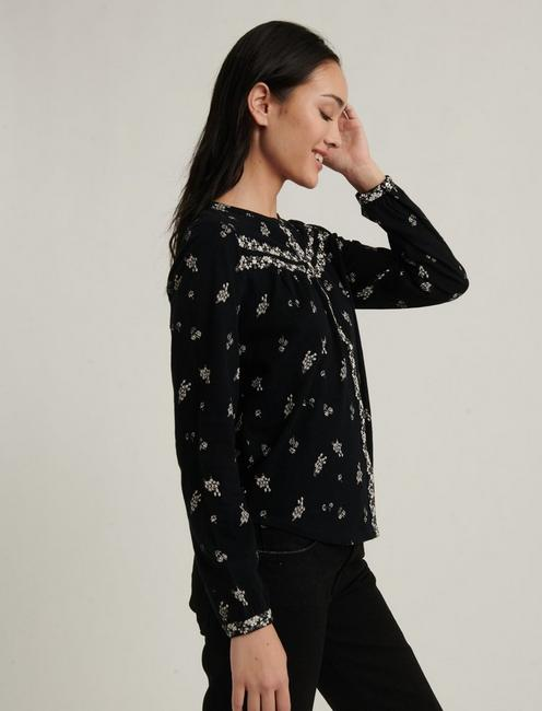 PRINTED KNIT SHIRT, BLACK MULTI