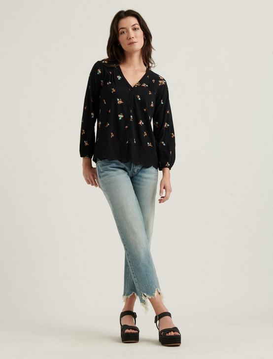 VNECK BUTTON DOWN PEASANT TOP, BLACK MULTI, productTileDesktop